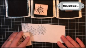 Using Not Quite Navy, Bordering Blue & Mellow Moss Classic inks, and Serene Snowflake stamp set – stamp 6 address labels